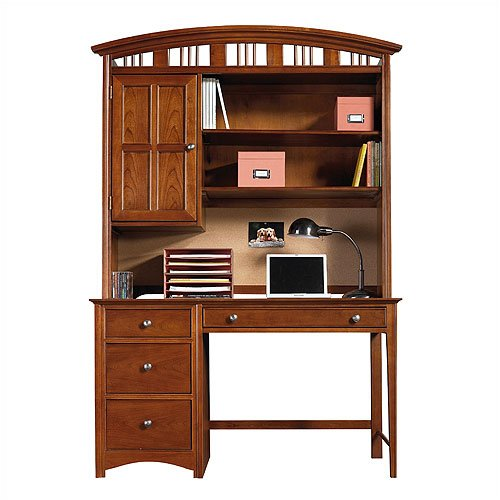 Young America by Stanley GenAmerica Classic Cherry Computer Desk with Optional Large Hutch GenAmeric