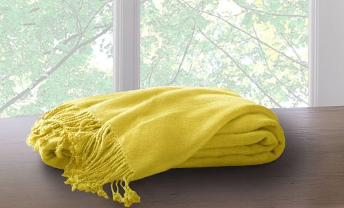 Marcini Bamboo Fiber Cotton Throw Blanket - Yellow