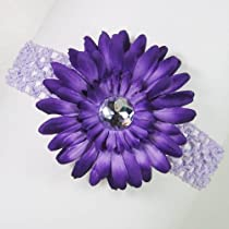 3-in-1 Gerber Daisy Flower Hair Clip Bow on Soft Stretch Crochet Child Headband fits Babies to Toddlers to Youth Girls - Purple on Lavender