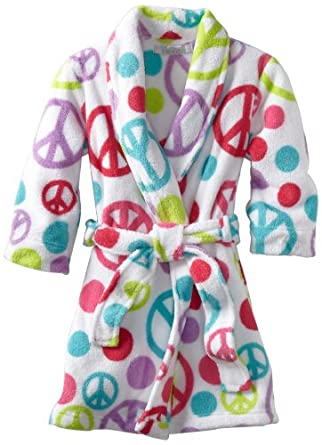 Komar Kids Little Girls'  New Peace With Dots Robe, White, 4/5