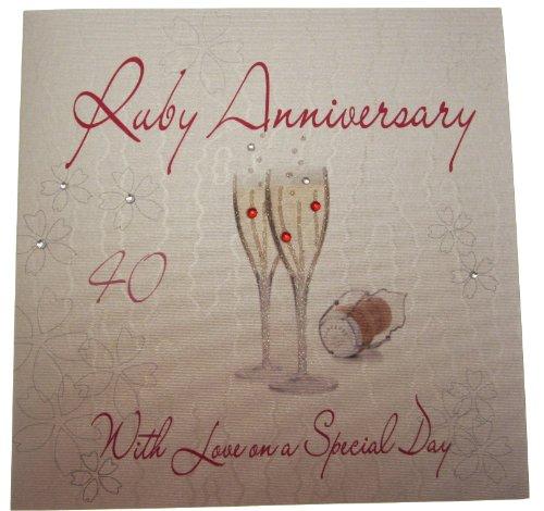 White cotton cards WA40/noces de rubis Motif coupes de Champagne en verre avec Love on a Special Day Carte d'anniversaire 40 ans de mariage Blanc