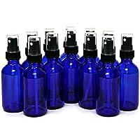 12, Cobalt Blue, 2 oz Glass Bottles, with Black Fine Mist Sprayers
