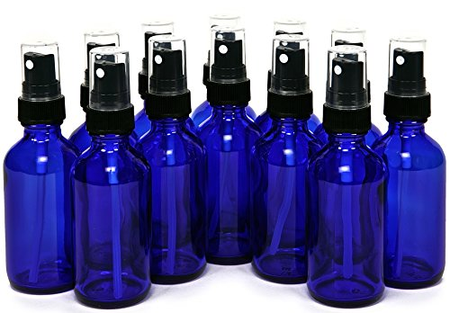 12, Cobalt Blue, 2 oz Glass Bottles, with Black Fine Mist Sprayers (Grape Perfume compare prices)
