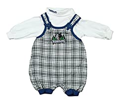 Minnesota Timberwolves NBA Toddlers 2 Piece Flannel Overalls and Turtleneck Set, Plaid & White (3-6 Months, Plaid & White)