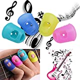 4PCs Silicone Guitar Thumb Finger Picks - Protector Plectrum Fingertip 4 Colors - Acoustic Guitar Thumb Picks - Thumb pick for Acoustic Electric Guitar - Guitar Parts & Accessories - L Size (Color: Multicolored)