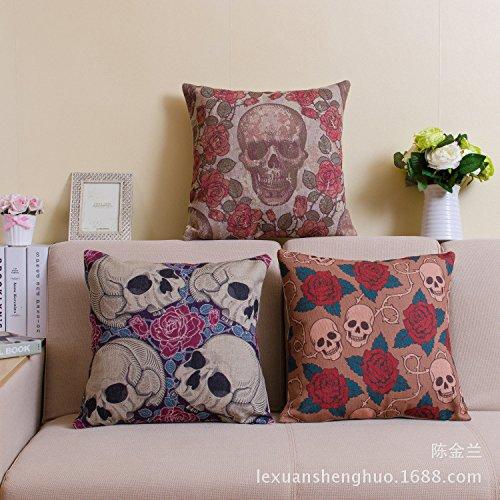 """MQZM casi di cuscino decorativo cotone lino Square Decorative Throw Pillow caso fodera per cuscino (classica cranio), federe per cuscini di tiro 18 """"x 18"""" , pink rose skeleton head , 45*45cm"""