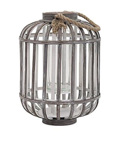 Small Jute Wood Lantern, Antique