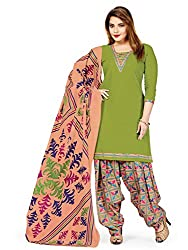 PShopee Green-Peach Printed Cotton Unstitched Semi Patiyala Suit Material