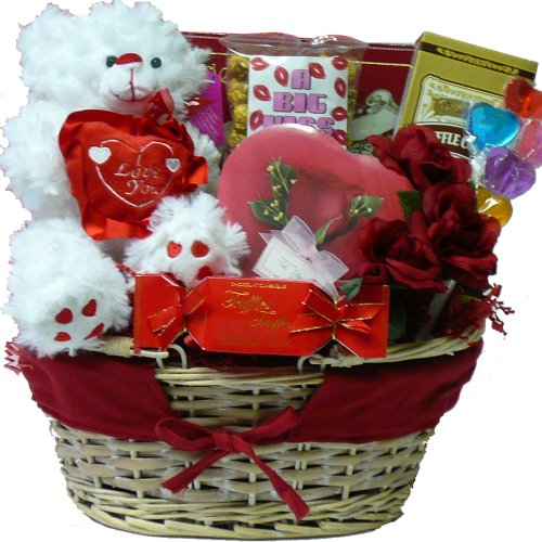 Valentines Treasures Gourmet Food Gift Basket with Teddy Bear