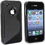 Coque Housse Etui silicone S line Pour Iphone 4 iphone 4s couleur noir noire