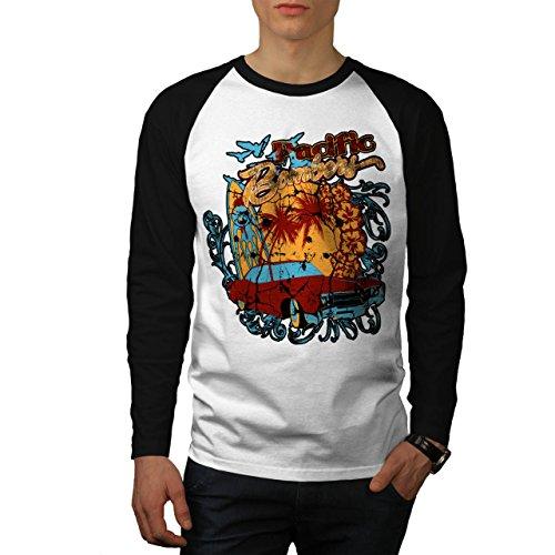Pacifico Bombardiere spiaggia Mustang Uomo Nuovo Bianca (Maniche Nere) M Baseball manica lunga Maglietta | Wellcoda
