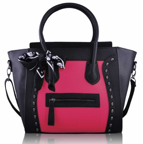 Womens Black Pink Skull Scarf Bag Tote Ladies Fashion Designer Handbag KCMODE
