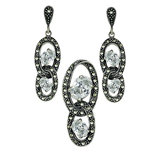 Sterling Silver Marcasite Earring Pendant Set in oval shape of Clear Color Stone Interlock