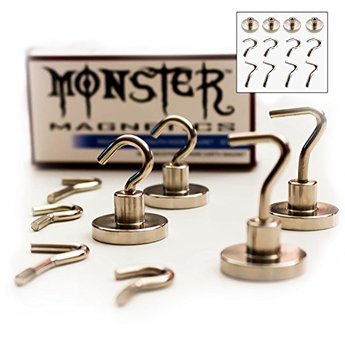Monster Magnetics Strong Hook Set - 8 Heavy Duty Hooks (2 Types, 4 Each) with 4 Magnet Bases - Versatility