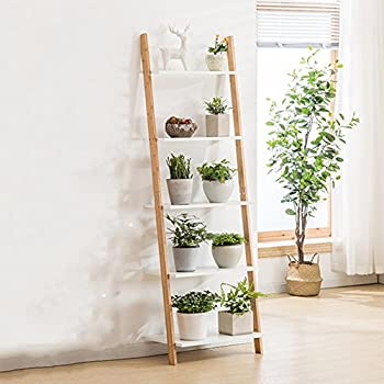 LIANGLIANG Bamboo Wall Flower Rack Pot Shelf Plant Ladder Floor Display Stand Creative Balcony Living Room Indoor, 3/4/5 Tiers (Size : 5335163cm)