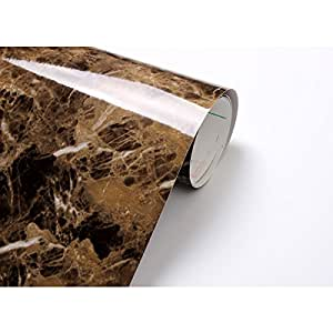 Amazon Com Marble Look Contact Paper Film Brown 24 Quot X