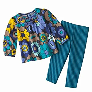 Carter's Girls 2-piece L/S Dark Purple/Turquoise Floral Cotton Knit Top and Legging Pant Set (6 Months)