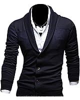 Keral Hommes Sweater Mince Pas V Con Couleurs Pures Coton Mélangé Tricoter Cardigan