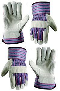 Wells%20Lamont Wells Lamont 12TN Leather Palm Work Gloves, Safety Cuff, Wing Thumb, 2-Pair