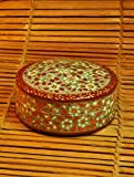 The India Craft House Red & White round shaped box (H-2