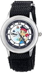 Disney Kids' W000384 Jake Stainless Steel Time Teacher Black Nylon Strap Watch