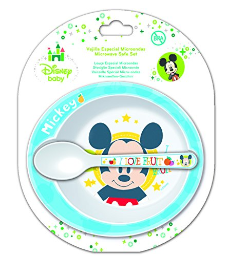 Disney Mickey Mouse Microwavable Safe Bowl and Spoon Set - 1