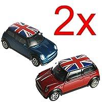 2 X Mini Cooper Union Jack Model Toy Car Kids Gift Set Metal Die Cast Xmas New