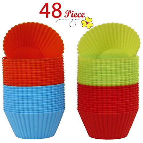 Chefaith 48-Pcs Reusable Silicone Baking Cups, Cupcake Liners, Muffin Cups [48 Round Cups with 4 Rainbow Colors] - Non-Stick, Heat Resistant (Up to 480°F) Mini Cake Baking Molds, Food Grade