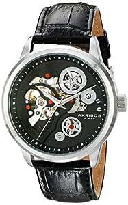 Akribos XXIV Men's AK538BK Mechanical Stainless Steel Skeleton Watch with Black Leather Band