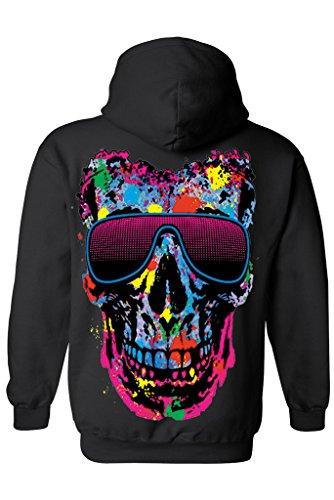 Unisex Zip Up Hoodie Colorful Skull w/ Shades: BLACK (XXL)