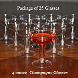25 - 4 ounce Disposable Plastic Champagne or Wine Glass (4 oz each)