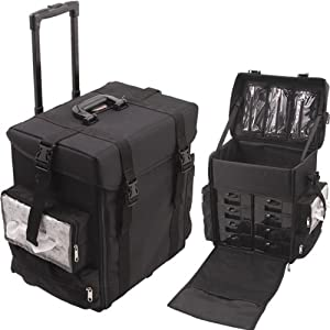Soft Sided Nylon Professional Rolling Makeup Case With