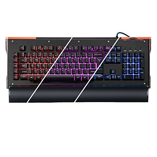 gCrusader USB Half Mechanical Backlit Gaming Keyboard with Multi Color LED Illuminated and Macro Enabled Rotary Dial (Black) for FPS (Volume Knob Usb compare prices)