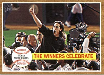 2011 Topps Heritage Baseball Card #237 Winners Celebrate HL - San Francisco Giants (Tim Lincecum / World Series Highlights) MLB Trading Card