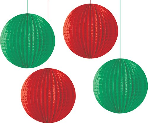 Creative Converting Paper Lantern Hanging Decorations, 4-Pieces Per Package, Red and Green Assorted - 1