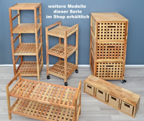 roll regal kommode rollcontainer badregal bad schrank regal auf rollen aus massivem walnuss holz. Black Bedroom Furniture Sets. Home Design Ideas