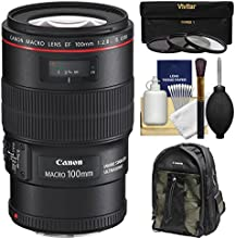 Canon EF 100mm f28 L IS Macro USM Lens with Canon Backpack  3 Filters Kit for EOS 6D 70D 7D 5DS 5D M