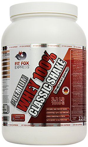 Fit Fox Express Premium Whey 100 prozent Classic Shake, Eiweißshake, Classic Strawberry Cream, inklusive Dosierlöffel, 1er Pack (1 x 1 kg)