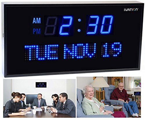 Ivation Big Oversized Digital Blue LED Calendar Clock with Day and Date - Shelf or Wall Mount (16 Inch - Blue)
