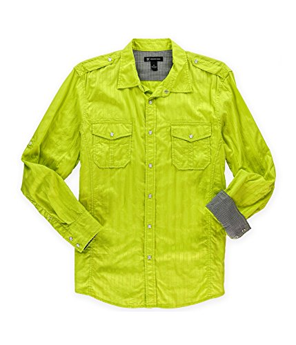 Inc International Concepts Yellow Green Vertical Striped Button Down Shirt Sport , Size Xlarge