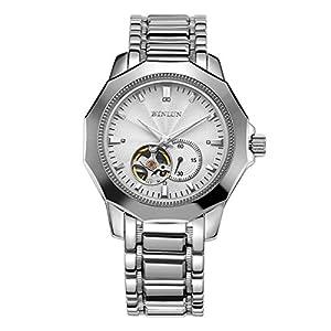 Binlun BL0064S Men's Irregular Silver Tone Stainless Steel Japanese Mechanical Watch