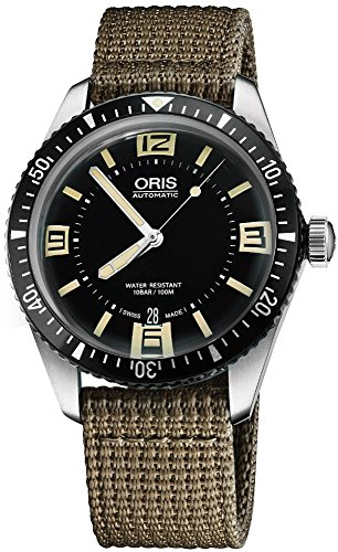 Oris Men's 'Divers65' Swiss Automatic Stainless Steel and Canvas Casual Watch, Color:Beige (Model: 73377074064LS22)