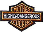 Funny MOTHER FUCKER HIGHLY DANGEROUS Harley Davidson Shield Motorcycles Biker Jacket T-shirt Patch Sew Iron on Embroidered Badge Sign Costum