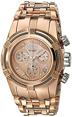 Invicta Women's Bolt Quartz Watch with Rose Gold Dial Chronograph Display and Stainless Steel Bracelet