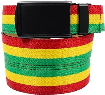 SlideBelts Canvas Belts (Rasta with Matte Black Buckle)