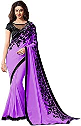 Fableela Women's Chiffon Saree with Blouse Piece (Purple)