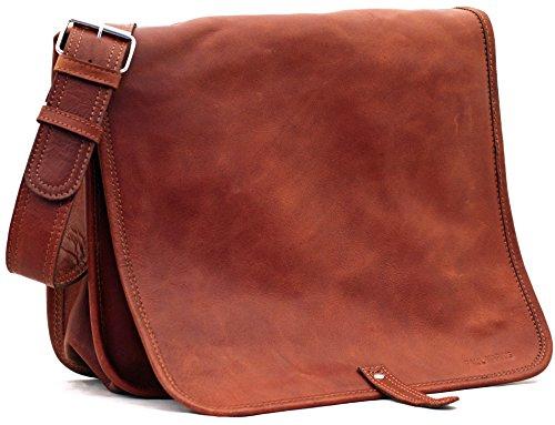 Il Messaggero (M), borsa pelle vintage, la borsa a spalla, borsa a tracolla, (A4), PAUL MARIUS, Vintage & Retro