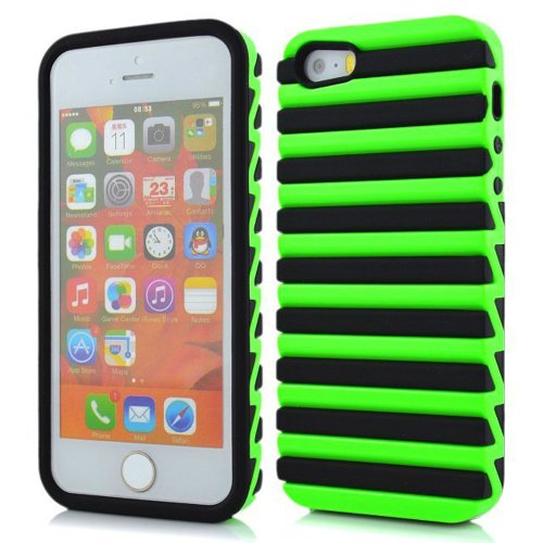 Meaci Apple Iphone 5 5S Case Hard Soft Plastic&Silicone Colour Combo Hybrid Bumper Case (Green&Black)