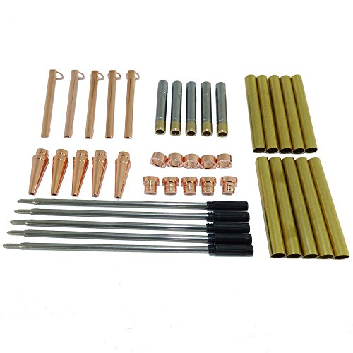 woodturning-slimline-pen-kit-set-x-5-copper-finish-twist-mechanism