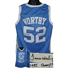 James Worthy Autographed Hand Signed North Carolina Tar Heels Blue Custom Jersey 1982...